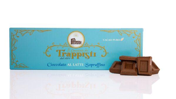 Tavoletta di Cioccolato al Latte da 150g, con latte intero, da lavorazione lenta secondo l'antica ricetta Trappista
