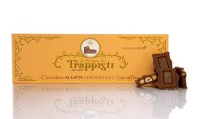 Tavoletta di Cioccolato al Latte da 150g con Nocciole intere Dop della qualità Tonda Gentile Romana, dall'antica ricetta Trappista