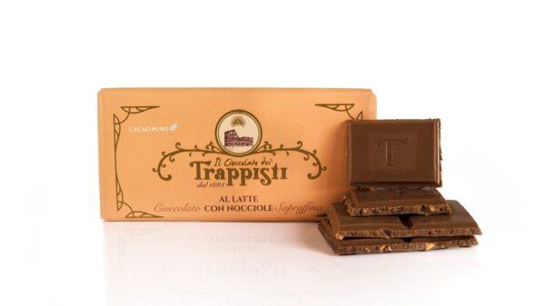 Barretta di Cioccolato al Latte da 50 g con Nocciole Dop della qualità Tonda Gentile Romana