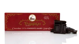 Tavoletta di Cioccolato Extra Fondente Amaro al 90% di cacao da 150g, prodotta secondo l'antica ricetta Trappista