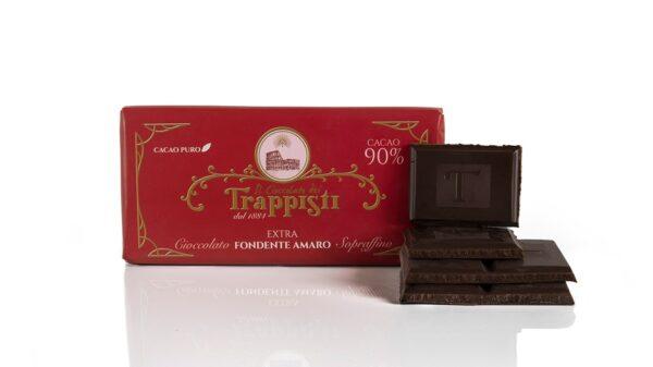 Barretta di Cioccolato Extra Fondente Amaro al 90% di cacao da 50g, da antica ricetta Trappista