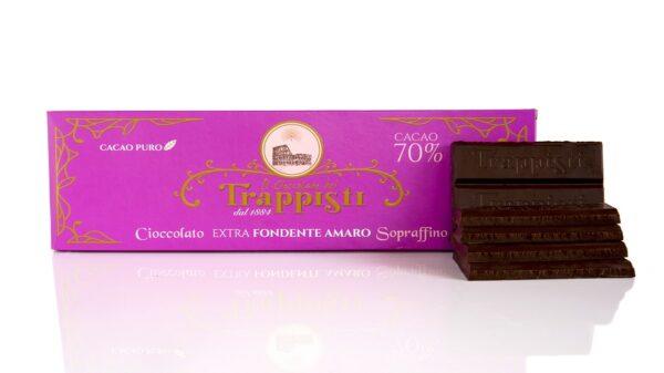 Tavoletta di Cioccolato Extra Fondente Amaro al 70% di cacao da 250g, con metodo di lavorazione artigianale da antica ricetta Trappista